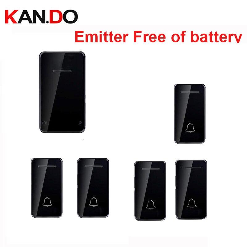 Black Emitter Free Of Battery Bell Kits 5 Emitters Wireless Door Bell 110-220V Wireless Doorbell Ip44 200M Door Chime Door Ring