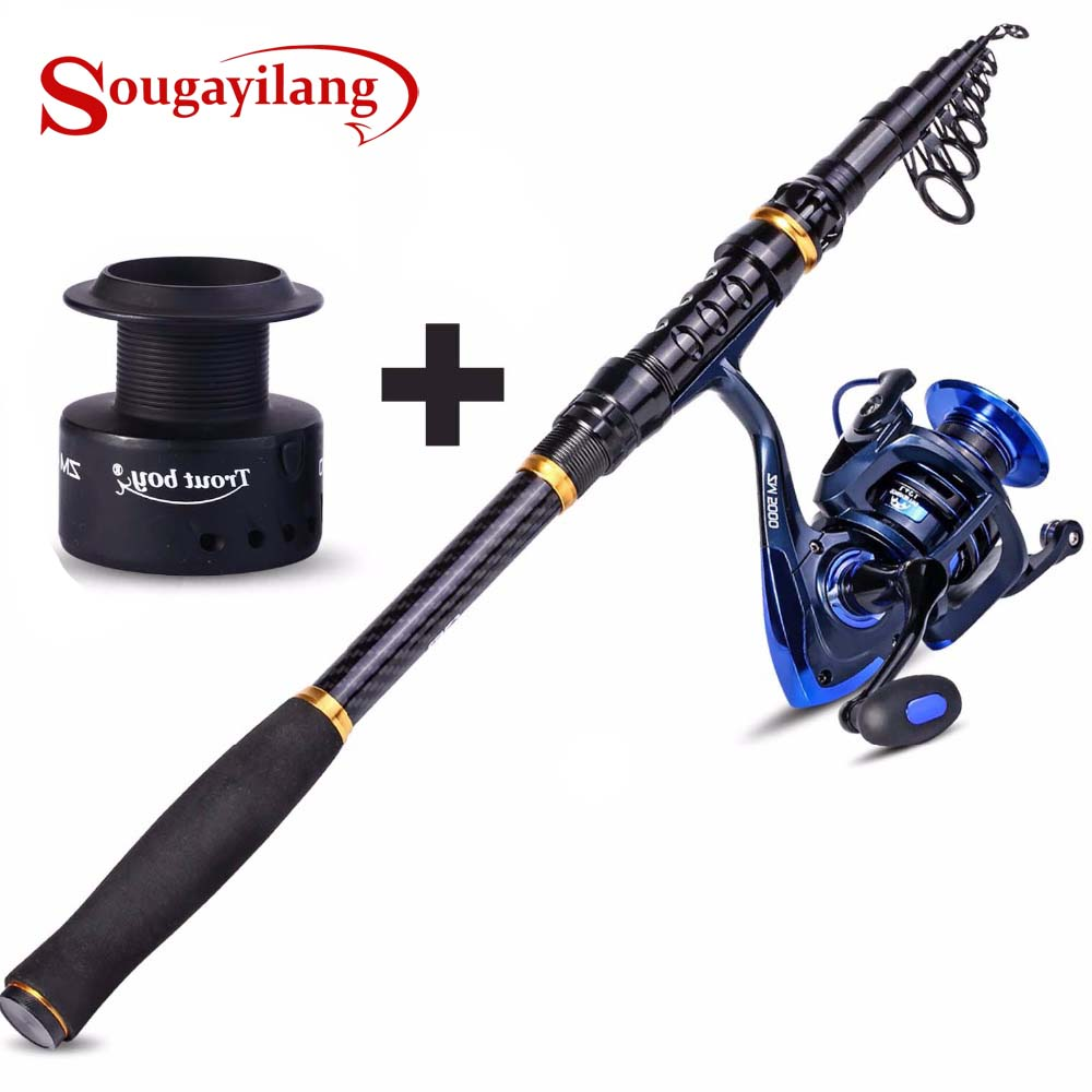 Sougayilang 1 8 3 6m Telescopic Fishing Rod and Spinning Reel with Spare Coil Sets Portable