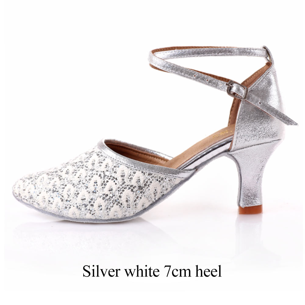 f22a1ec004 Women Latin/Salsa Dance Shoes Ladies/Girls White Wedding Shoes Ballroom  Dancing Shoes High Heeled Closed Pointed Toe Dance Shoes