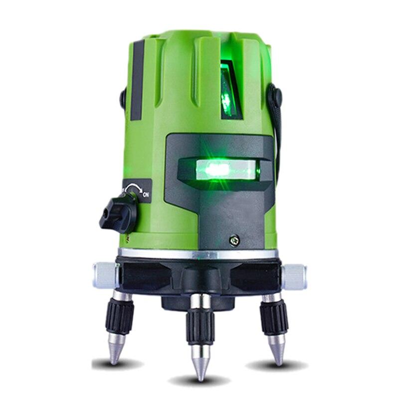 Лазерный уровень зеленый свет 5 линий 6 очков уровня наклона Функция 360 Ротари self lleveling Открытый ЕС 635nm перекрестной линии лазерный уровень