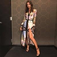 Spring/summer 2018 fashion Show vintage POP Printed silk Long sleeve belt Dress Angel pattern Print Slit Long dress