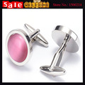 Silver Plated Pink opal Cuff Links Men's Wedding Groom Party Shirt Dress Suit Wedding Party Business Cufflink for Women Man Gift