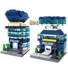 KAZI 131PCS City Mini Architecture Police Station Headquarter Model Building Blocks Children Educational Learning Toys
