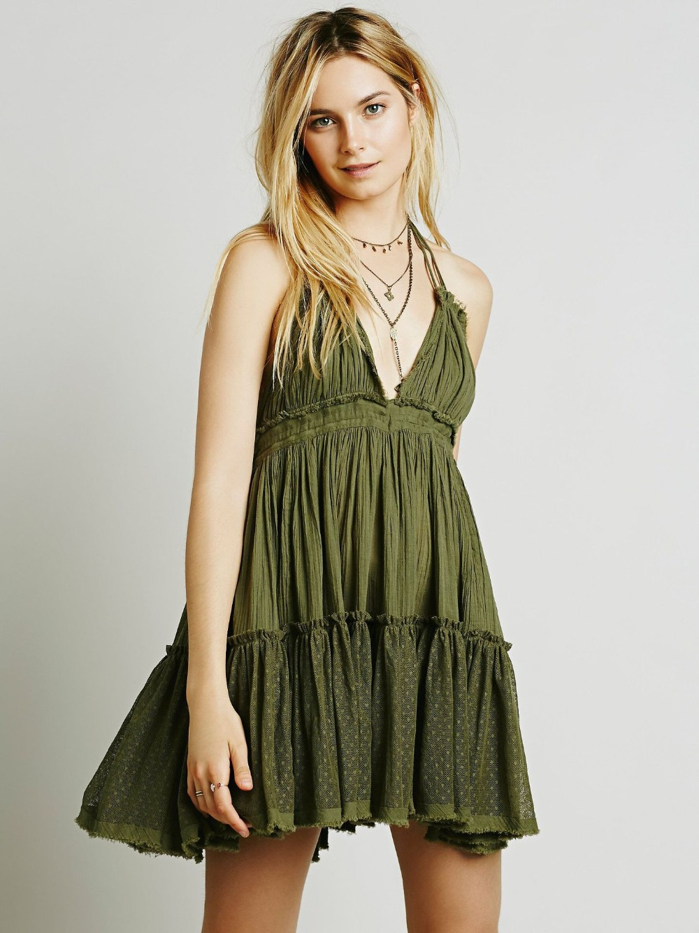 Backless Beach Lace Strapless Short Pleated Cute Dress