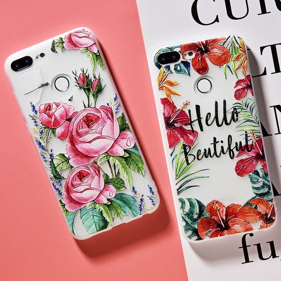3D Relief Flower TPU Case For On Honor 9 9 lite Soft Silicone Case Back Cover Case for Huawei P20 P10 lite NOVA 2 Case           (8)