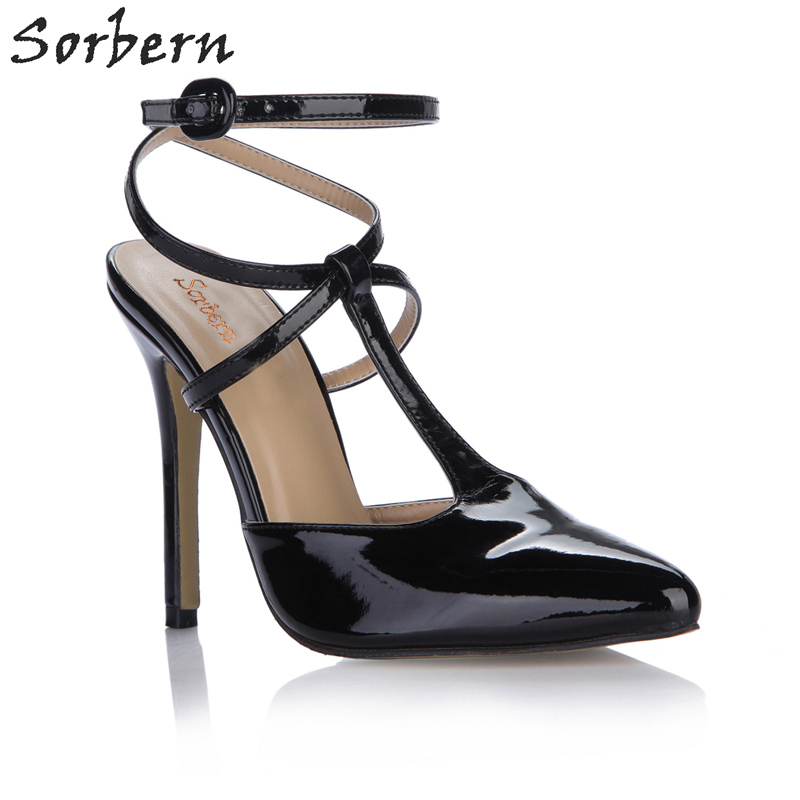 Sorbern Black Pumps Women Shoes High Heel Office Lady Heels Custom Colors T Strap Shoes Pointed Toe Stiletto Heel Shoes Fetish 5 colors ankle strap lady wedding shoes women red thick high heel pumps lady square toe black dress shoes size34 43