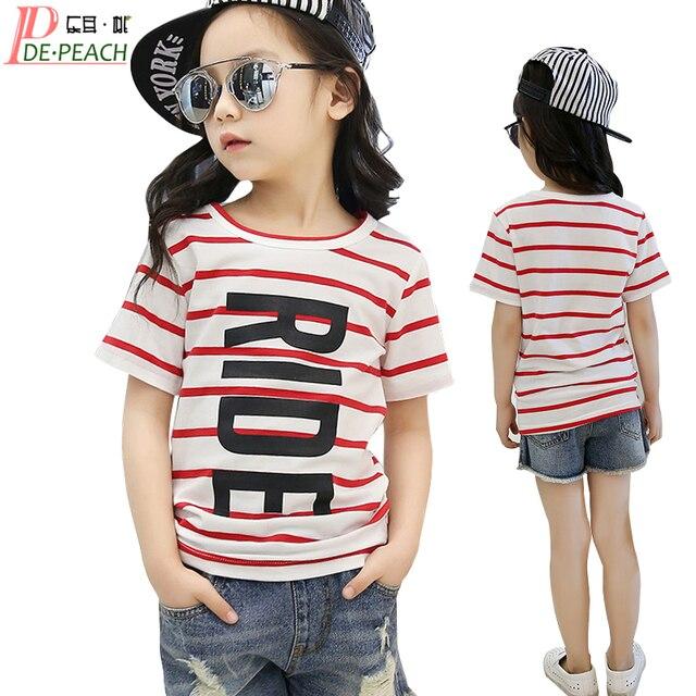 08f5e932d Teens Girls Sports tshirt Summer Casual Stripe T shirts Girl New ...