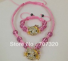 Minimal order $9.9( mix different items) kid's gift handmade adjust size hello kitty shamballa beads necklace+ Gift bag