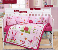 7PCS embroidery Children Baby Bedding Sets/Cute Girl's Baby Comforter Set,include(bumper+duvet+sheet+pillow)