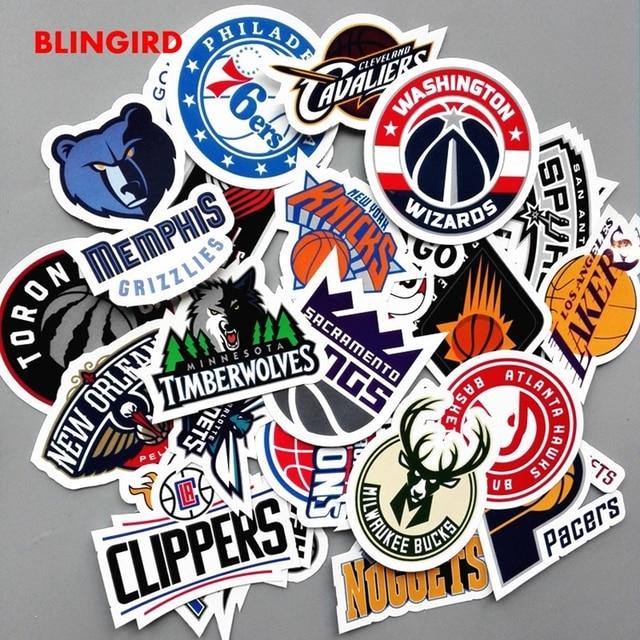 Blingird 30 Pcs Nba Tim Emblem Keren Lucu Kartun Grafiti Stiker