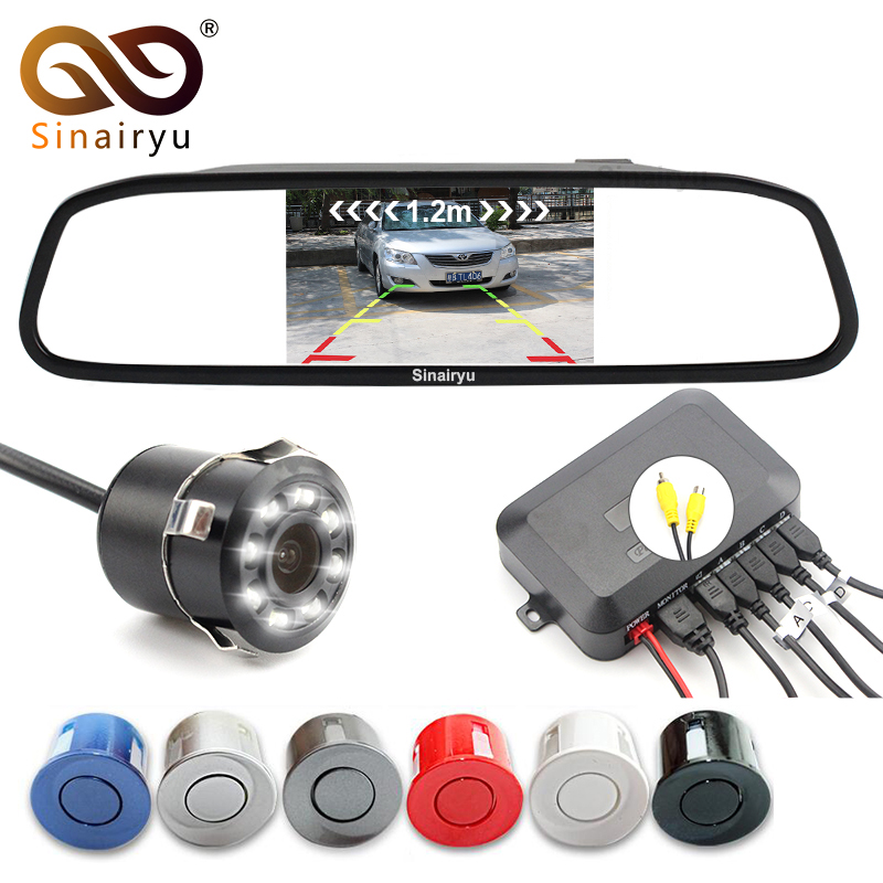 Sinairyu Car Visible Parking Assistance, 4.3 TFT Mirror Monitor With Rear View Camera and Video Reverse Radar Parking Sensor