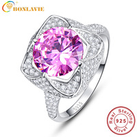 JQUEEN 6 5 Carats Pink Topaz 925 Sterling Silver Rings Round Cut Flower Design Engagement Ring