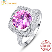 BONLAVIE 1 Piece Luxury Full Rhinestone Sterling Silver 925 Bridal Wedding Ring 6.5ct Natural Pink Topaz Rings Fashion Accessory