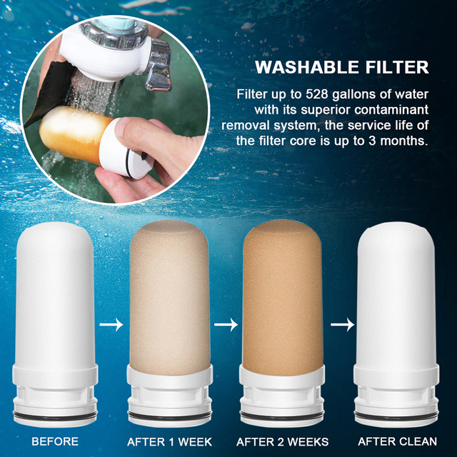AUGIENB Kitchen Tap Faucet Water Filter Purifier  - Activated Carbon Ceramic Cartridge - Reduce chlorine, odor, Contaminants  3