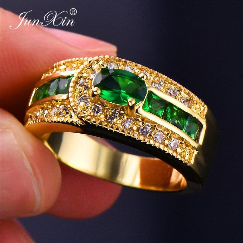 Grosshandel Charm Mannlich Weiblich Big Green Stein Ring Hohe