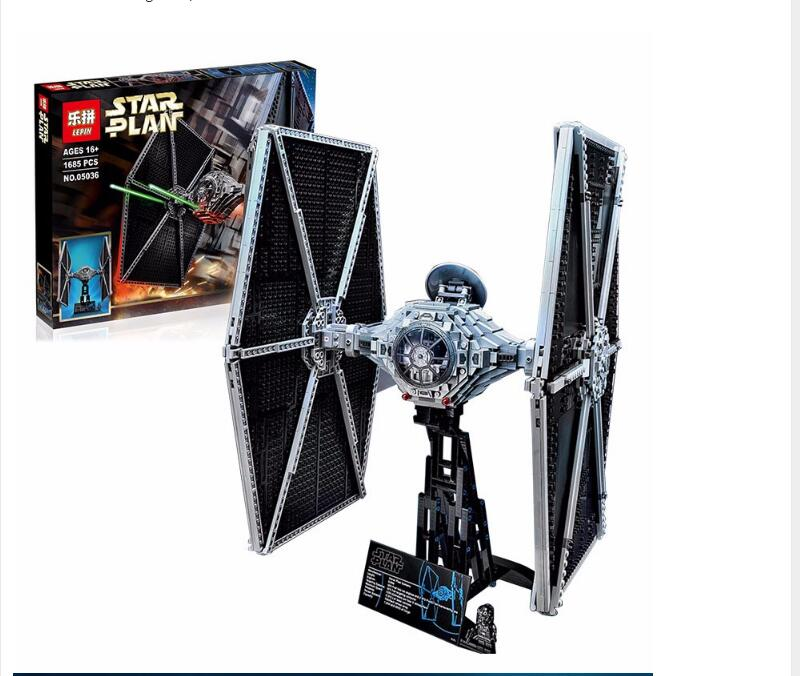 NEW 1685Pcs LEPIN 05036 Star Series War Tie Model Fighter Set Building blocks Bricks Classic Compatible 75095 Boys Gift dhl lepin 05055 star series military war the rogue one usc vader tie advanced fighter compatible 10175 building bricks block toy