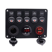 5 Gang Car Marine Boat Circuit RV LED Toggle Rocker Switch Panel Breaker Voltmeter with Double USB for RV Car Boat Red Light