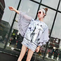Tide brand female summer gray horse printing stitching tassel lace big trumpet sleeve personality bag hip long section T shirt