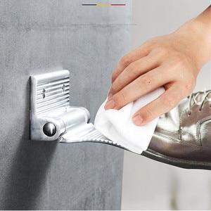 Image 2 - LIUYUE poggiapiedi doccia nero/argento in lega di alluminio a parete pedale ausiliario poggiapiedi supporto Hardware semplice