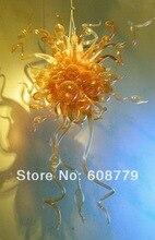 Free Shipping Heart Shape Murano Blown Glass Large Chandelier In Yellow