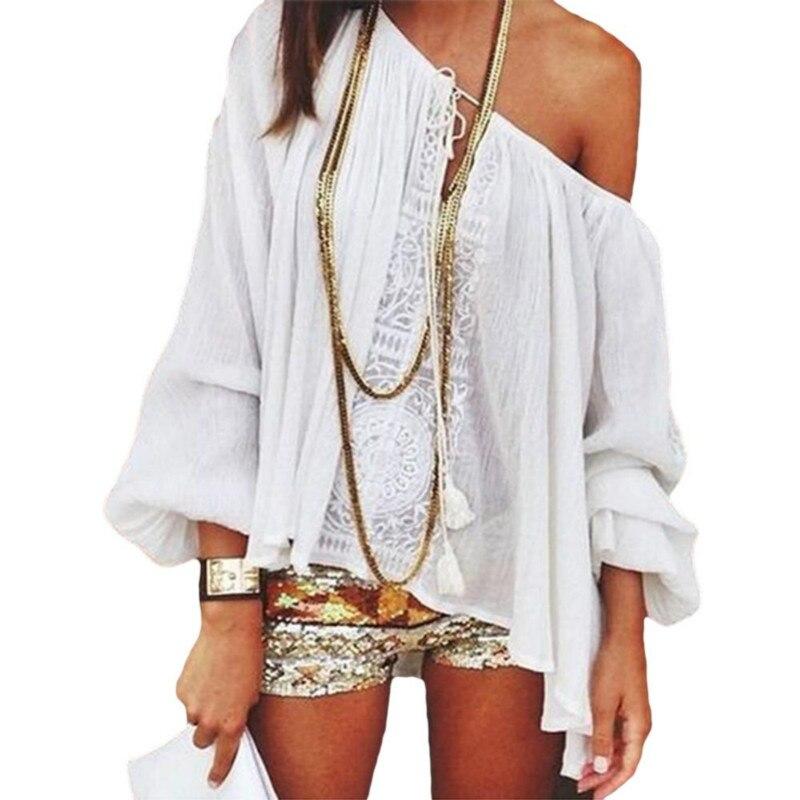 2018 Summer Chiffon Shirt Women Off Shoulder Blouse Casual Beach Tops Long Sleeve Boho White Lace Blouse Femme Blusas