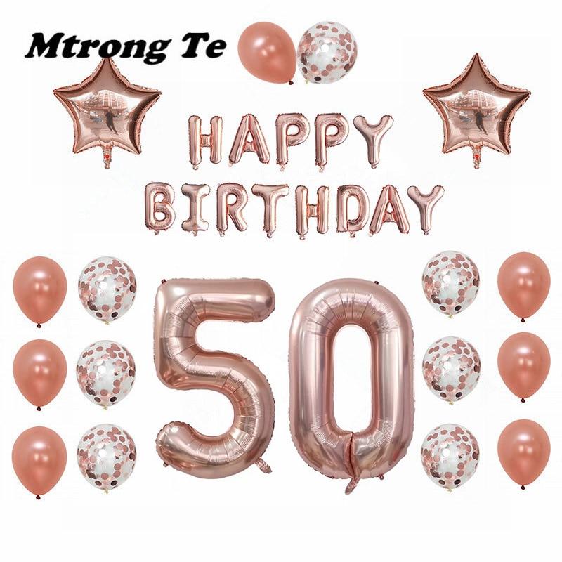 1 Satz 30 50 60 Jahre Alt Happy Birthday Balloons Erwachsene Alphabet Buchstaben Papier Banner 40 Zoll Rose Gold Anzahl Folie Ballon Decor