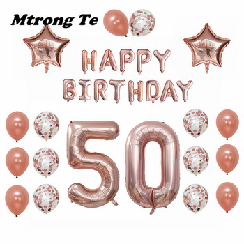 1set 30 50 60 years old Happy Birthday Balloons Adults Alphabet Letters Paper Banner 40inch Rose Gold Number foil balloon Decor