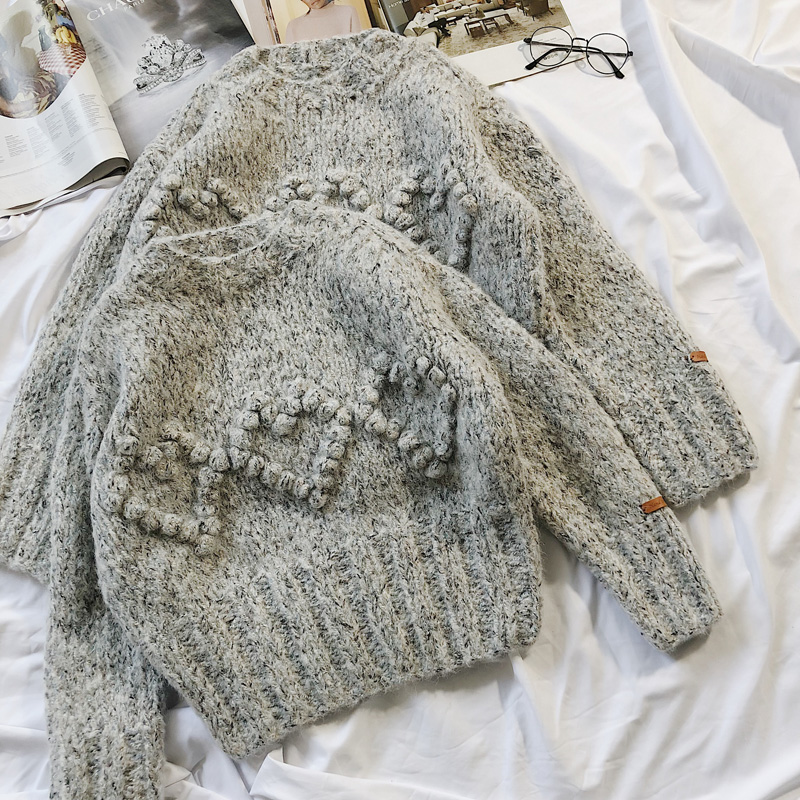 Пуловер из натуральной шерсти джемпер 2019 Весна Новый женский свитер ручной работы Альпака круглый вырез трехмерный узор ручной работы женщ