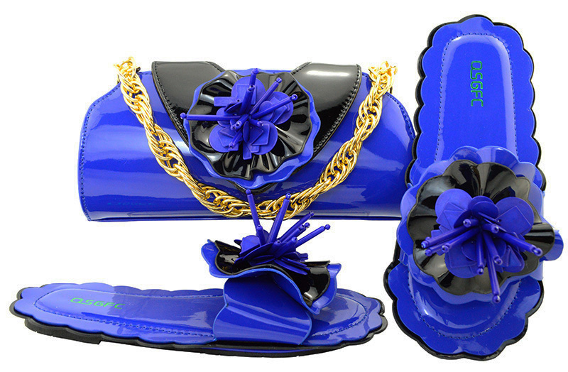 Royal blue lovely nice slippers with matching clutches bag for girls in party 2018 flowers design shoes and bag set SB8108-7Royal blue lovely nice slippers with matching clutches bag for girls in party 2018 flowers design shoes and bag set SB8108-7