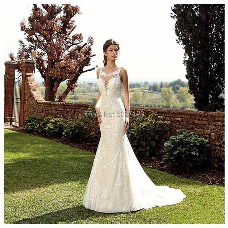Mermaid Wedding Dresses 2019 Vintage Sheer Scoop Court Train Bridal Gown Sleeveless Sexy Backless Wedding Gown Vestidos De Novia