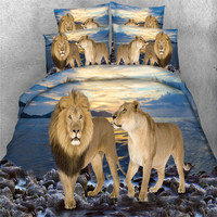 wild lions animals bedding sets single queen full king sizes 3/4pcs 3d qulit cover tiger 500tc pillowcase Kids Boys bed in a bag