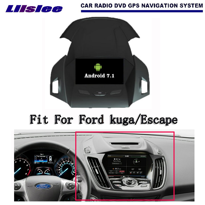 Liislee Android 7.1 2G RAM For Ford kuga/Escape Car Radio Audio Video Multimedia DVD Player WIFI DVR GPS Navi Navigation liislee car multimedia player gps radio navigation for ford fusion for mondeo 2013 2017 original factory style audio navi
