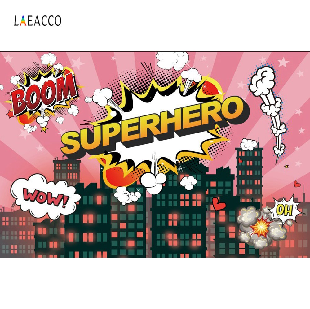 Superhero Birthday Party Comics City Silhouette Baby Poster Banner Portrait Photo Backgrounds Photography Backdrops Photo Studio in Background from Consumer Electronics