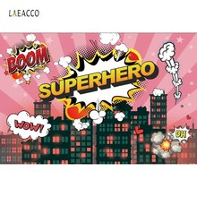 Superhero Birthday Party Comics City Silhouette Baby Poster Banner Portrait Photo Backgrounds Photography Backdrops Studio