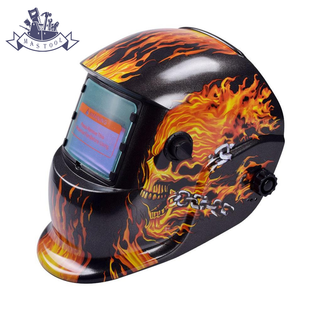 Auto Darkening Welding Helmet Welding Mask MIG MAG TIG Flame Skeleton Arc Sensor flame skeleton auto darkening welding helmet for arc mag mig tig electric welder mask automatic darkening chrome brushed new