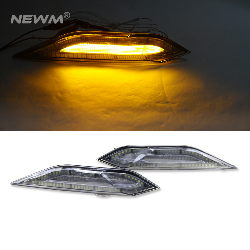 Clear Lens Amber/White Switchback 11-14 for Porsche Cayenne 958 Chassis Clear LIGHT BAR Amber LED Side Marker Lights