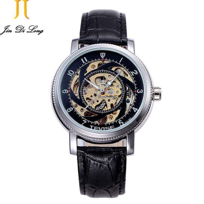 где купить TEVISE Authentic Men's Watch Automatic Mechanical Hollow Waterproof Steel Strip Christmas Gift Leather Belt Relogio Masculino по лучшей цене
