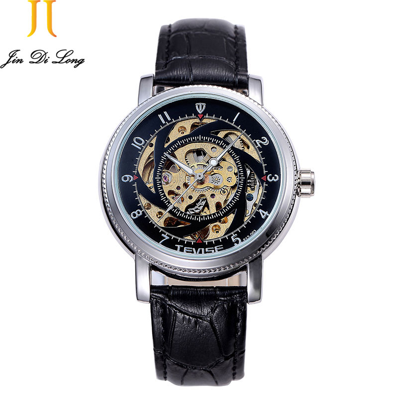 TEVISE Skeleton Mens Watch Automatic Mechanical Hollow Waterproof Steel Strip Christmas Gift Leather Belt Relogio MasculinoTEVISE Skeleton Mens Watch Automatic Mechanical Hollow Waterproof Steel Strip Christmas Gift Leather Belt Relogio Masculino
