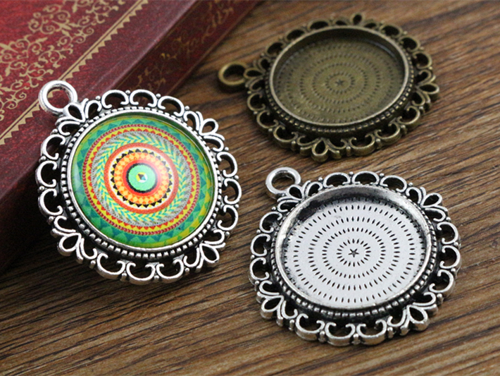10pcs 20mm Inner Size Antique Silver And Bronze Colors Pattern Style Cabochon Base Setting Charms Pendant