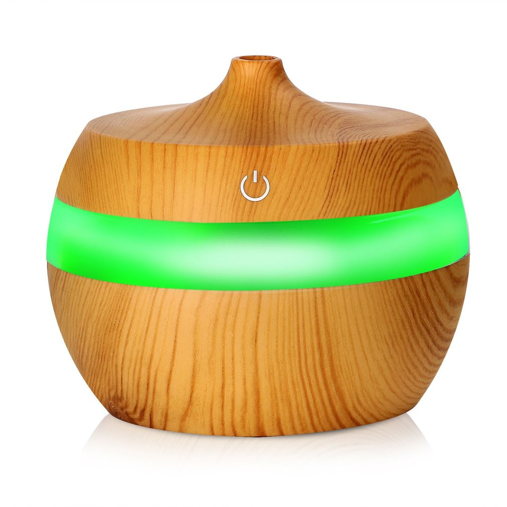 Electronic Wood Grain Ultrasonic Essential Oil Diffuser Moisture Humidifier Air Freshener with 7 Color Changing Nightlights