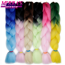 Hair Pink Braiding 2-Tone Hair-Extensions Synthetic Ombre 60-Colors 24inch Mirror 100g
