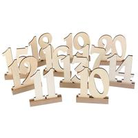 Adeeing Wedding Supplies 1 to 20 Wooden Table Numbers with Holder Base for Home Decoration Catering Reception