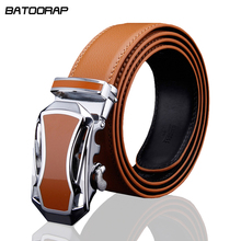 New 2016 High quality real leather belt men Automatic belts luxury Brand Fashion brand designer Silver black