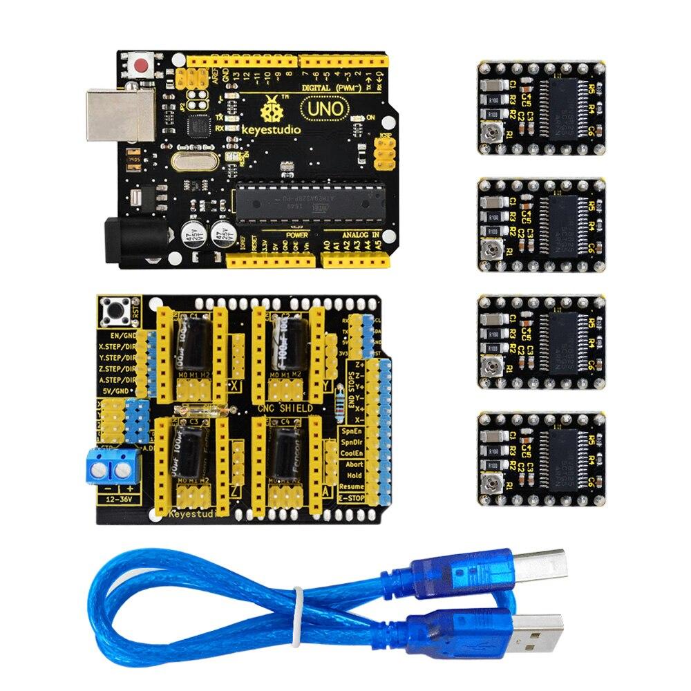 Keyestudio CNC Kit (Shield V3+UNO R3+ 4pcs DRV8825 driver)for Arduino CNC Engraving Machines/GRBL compatible