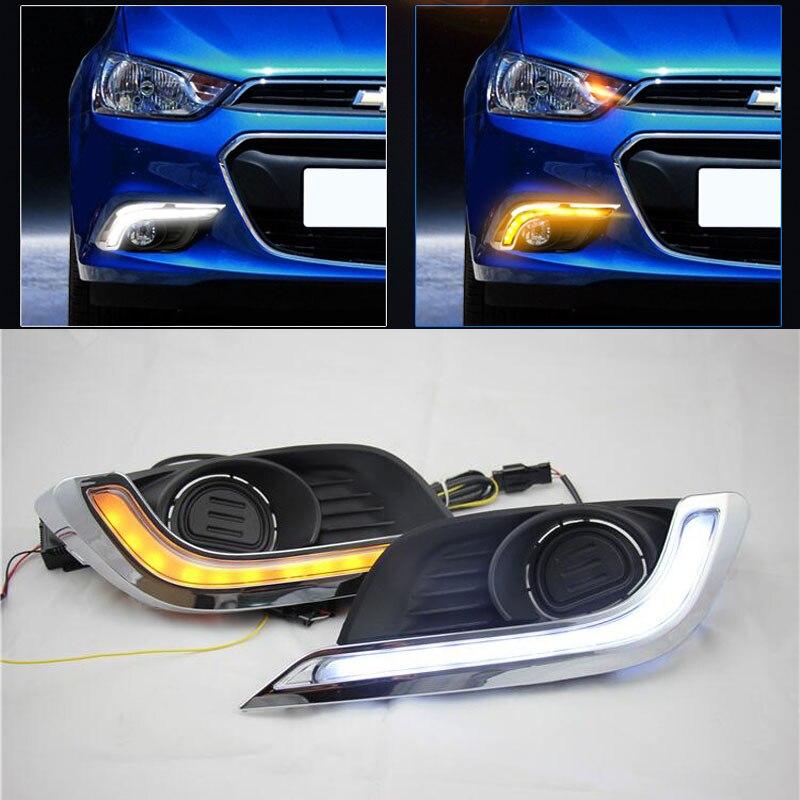 ФОТО Hireno Super-bright LED Daytime Running Light for Chevrolet AVEO 2015 2016 Car LED DRL fog lamp 2PS