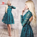 Pretty Sexy Lace High Neck Mini Short Cocktail Dress 2016 Long Sleeves Hunter Green A Line Open Back Above Knee Party Dresses