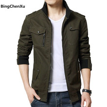 Cargo Jacket Man Casual Men Jackets Army Green Slim Brand Work Jackets Cotton Outerdoors Solid Color Overcoat Veste Homme 214(China)