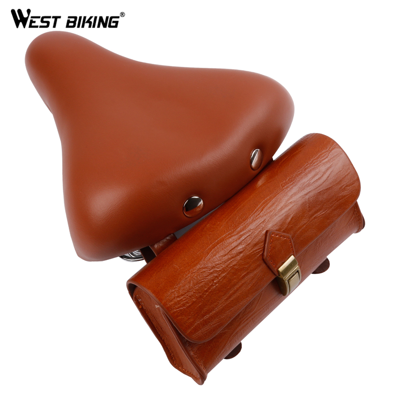 WEST BIKING Bicycle PU Retro Saddle Bike Tail Bag Set Vintage Back Seat Tail Pouch Cycling Personality Saddles bicycle saddle bike child back seat pu leather cushion bike child seat with back rest bike accessories