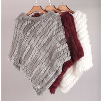 New Real Knitted Rabbit Fur Shawl Hoodie Poncho Women Stole Cape Outwear