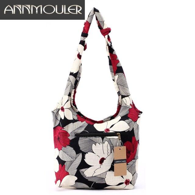 Women Messenger Bag Cotton Fabric Shoulder Bag Bohemian Chic Hobo Bag Gypsy Bag Travel Tote Sling Handbag